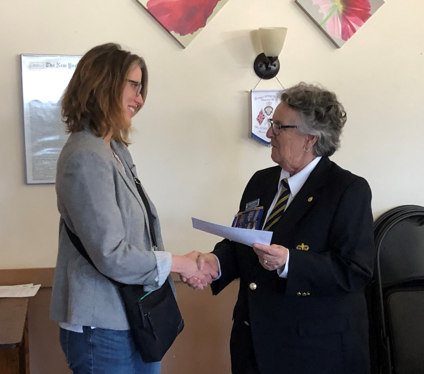 Donations  - Erin Ormond of Chemainus Secondary School PAC - receives donation cheque from Janet Mitchell